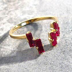 Viveka Bergstrom bague 4XS cristal rouge / doré