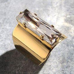 Viveka Bergstrom bague Strass XL cristal clear / doré