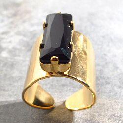 Viveka Bergstrom bague Strass XL cristal noir / dore