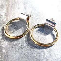 Viveka Bergstrom boucles tube rhodié / anneau doré