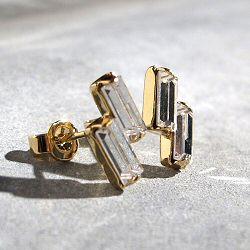 Viveka Bergstrom boucles 2-Strass cristal clear / doré