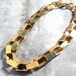 Viveka Bergstrom collier court chaine Biais XL dore