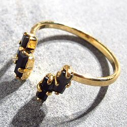 Viveka Bergstrom bague 4XS cristal noir / doré