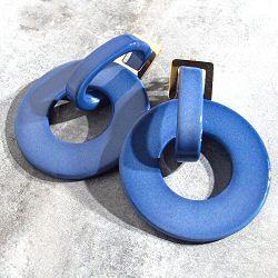 Viveka Bergstrom boucles Bauhaus Resine bleu / dore